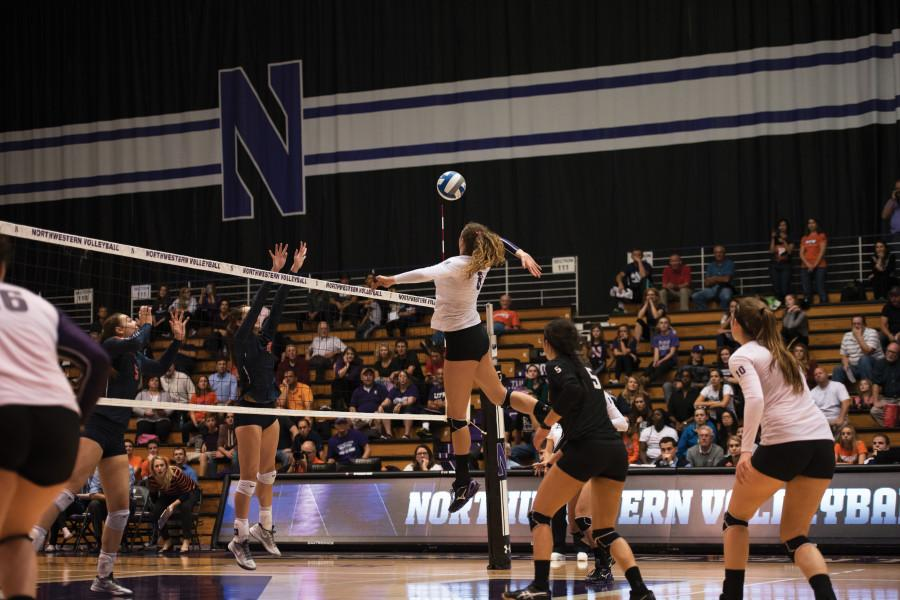 Sophomore+middle+blocker+Gabrielle+Hazen+loads+up+for+a+spike.+Hazen+had+seven+kills+and+seven+blocks+for+Northwestern+in+a+four-set+loss+to+No.+18+Illinois.