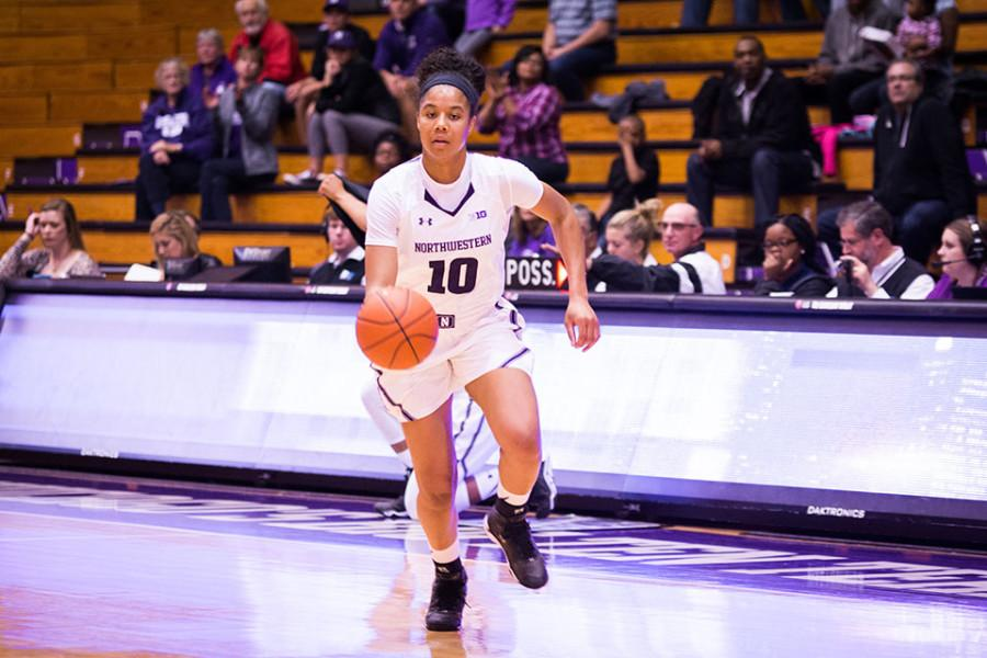 Nia Coffey dribbles the ball on a fast break. The junior forward shot 7-of-12 for 20 points in NU's win on Sunday.