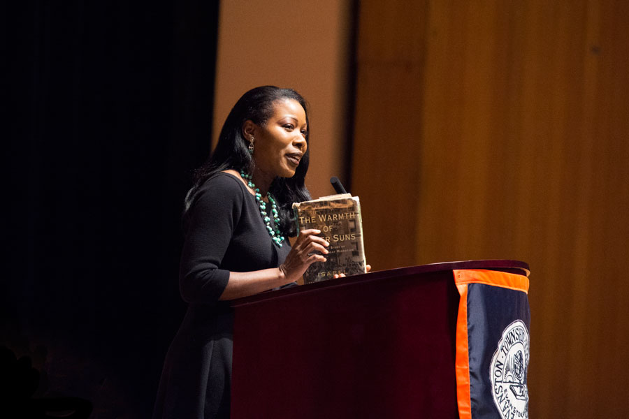 Isabel Wilkerson speaks about race relations throughout American history to a crowd of about 900 people at Evanston Township High School. Wilkerson was the first black woman to win a Pulitzer Prize in American journalism.