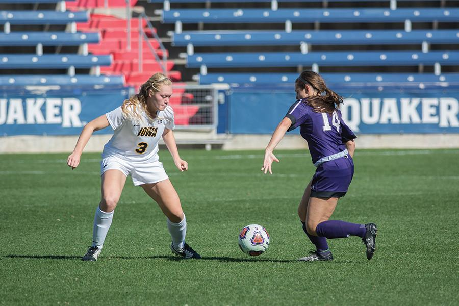 Freshman+midfielder+Marisa+Viggiano+takes+on+a+defender.+Viggiano%2C+one+of+three+freshman+starters+for+Northwestern%2C+will+be+counted+on+to+play+a+key+role+as+the+Wildcats+look+to+upset+No.+4+West+Virginia+in+the+NCAA+Tournament.