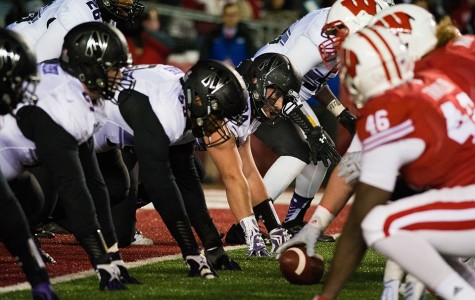 The Northwestern defensive line sets up near the goal line. The defense will be crucial in the Cats' attempt to knock off the Volunteers.