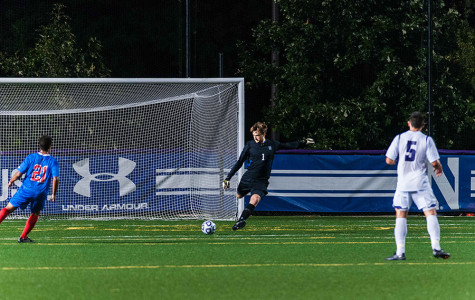 Tyler Miller prepares to launch a goal kick. The goalie was the unanimous Big Ten Goalkeeper of the Year during his senior campaign.