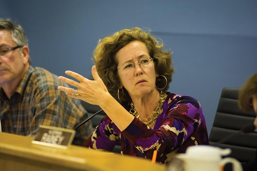Ald. Jane Grover (7th) attends a City Council meeting. Grover announced Friday that she would be stepping down from City Council at the end of the year to pursue a job in regional planning.