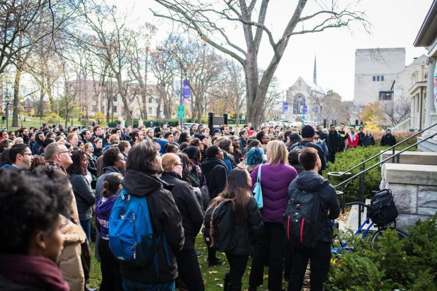 Students+gather+outside+the+Black+House+during+last+month%27s+%27From+NU+to+Mizzou%27+demonstration.+Administrators+invited+five+to+six+student+representatives+to+discuss+issues+of+diversity+and+inclusion+early+Winter+Quarter.+