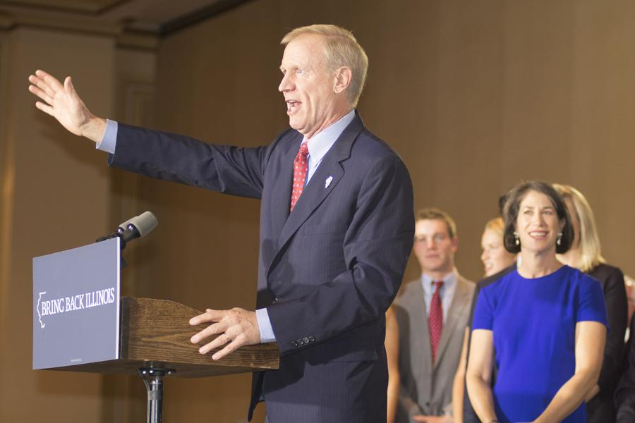 Gov. Bruce Rauner speaks to a crowd of supporters on Nov. 4, 2014, the night he was elected governor of Illinois. Rauner signed a bill this week releasing motor fuel tax revenue to local governments, including Evanston.