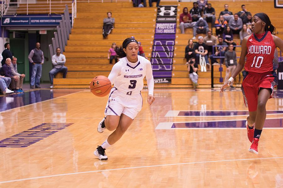 Ashley Deary dribbles up the court. The junior guard entered Tuesday's game leading the nation in steals with 51.
