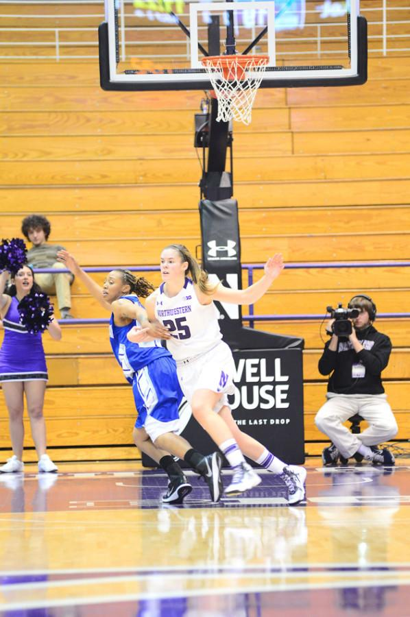 Maggie Lyon works to get position in the paint. The senior guard scored 9 of Northwestern's first 12 points Tuesday as the Wildcats raced out in front and routed Alcorn State.