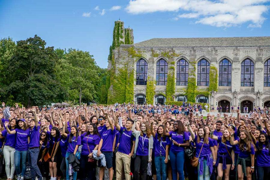 The Class of 2019 shows purple pride in Deering Meadow during Wildcat Welcome. The university broke its previous record for the highest number of applications received this year, drawing 35,034 first-year applications for the Class of 2020.