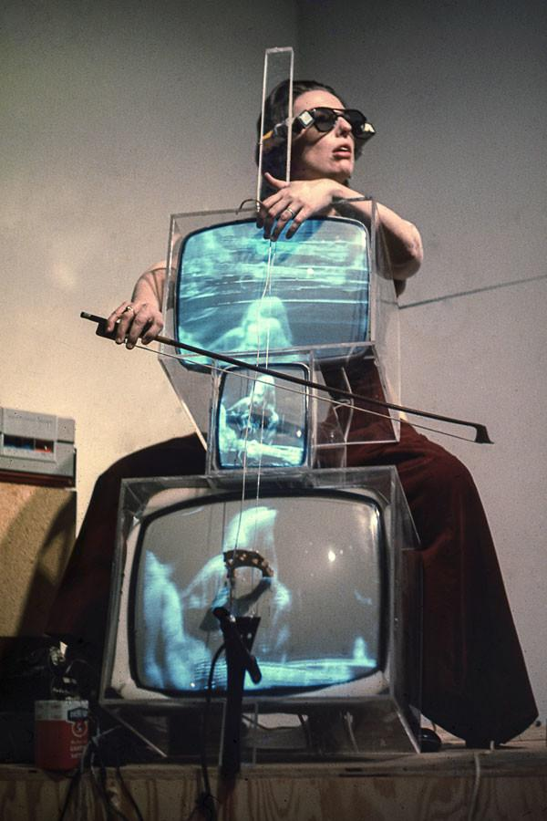 Charlotte Moorman plays her TV Cello, one of the best-known pieces of her non-traditional art. The Block Museum of Art put together an exhibition on Moorman and her contribution to the avant garde movement of the 1960's.
