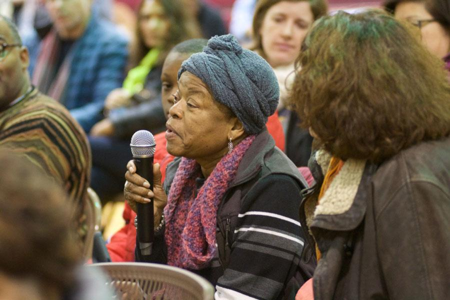 "Around 50 Evanston residents gathered at the Fleetwood-Jourdain Community Center Saturday for a free screening and subsequent discussion of Spike Lee's movie ""Chi-Raq."" The film, which was released in 2015, explores the issue of gun violence in Chicago."