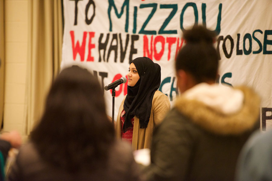 "Medill junior Zahra Haider speaks at Monday night's ""Decolonize Your Mind"" event hosted by NUDivest. The organization announced its campaign to pressure the university to divest from security company G4S at the event."