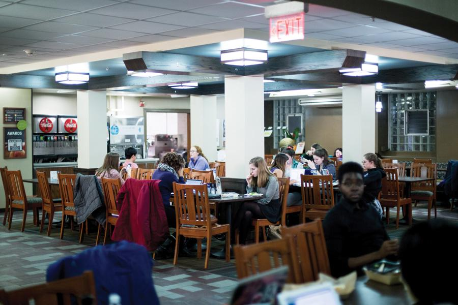 Students eat and work in Fran's Cafe, a late-night dining spot in Willard Residential College. With Willard scheduled to be renovated next year, a similar eating location will open in 1835 Hinman.