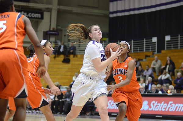 Maggie Lyon drives around the opposing defense. The senior guard fouled out in Northwestern's loss to Penn State Thursday as the Wildcats dropped their Big Ten opener.