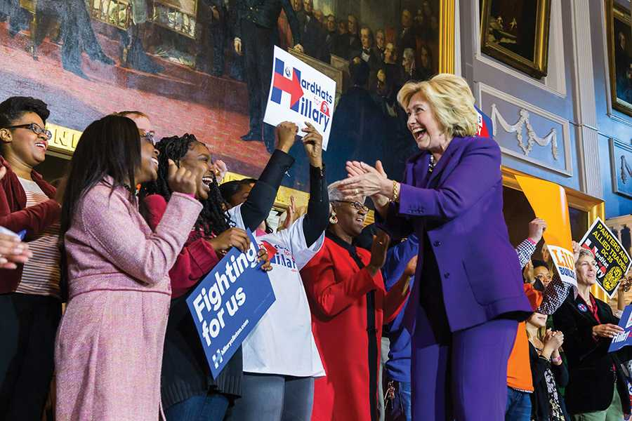 Hillary Clinton greets supporters at a campaign event. The Democratic Party of Evanston officially endorsed the candidate for president.