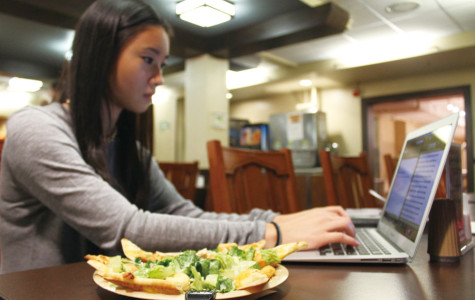 A student peers at her laptop while eating at Fran's Cafe, a late-night cafe run by Northwestern Dining. The University has its contracts with food service provider Sodexo up for renewal in 2018.