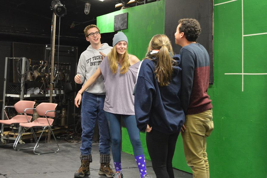 """Northwestern's Mee-Ow Comedy group will present """"Control Alt-Mee-Ow"""" this weekend. The theme of technology is incorporated in the set of the show."""