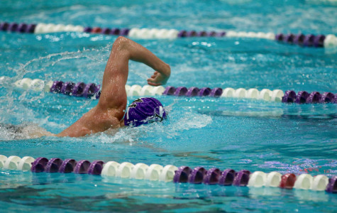 Carter Page swims in this weekend's meet. The freshman distance specialist won the 500-yard freestyle in 4:33.60.