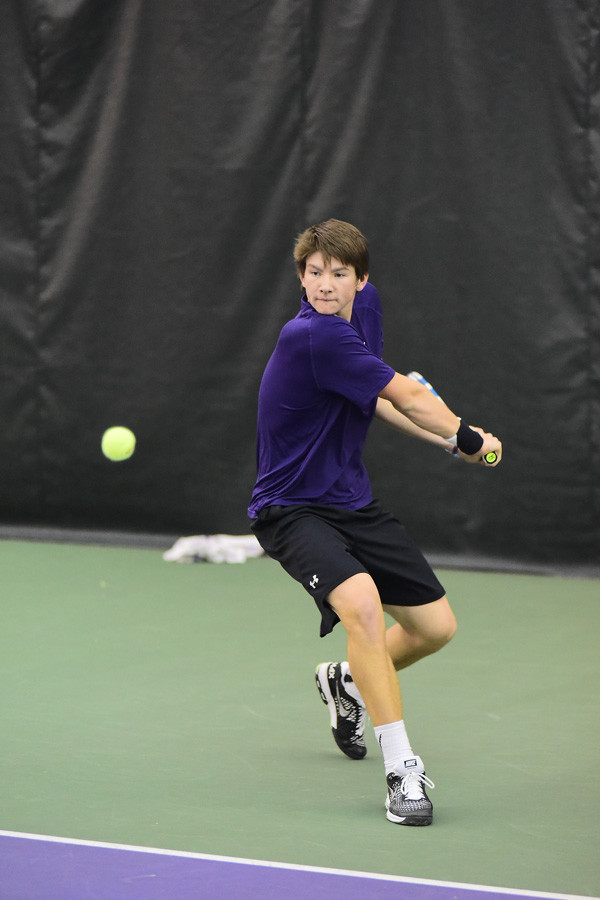 Strong Kirchheimer prepares a backhand shot. The junior returned to his home state as Northwestern defeated Duke this weekend.