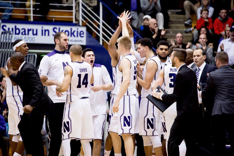 Northwestern+celebrates+after+a+timeout.+The+Wildcats+will+be+looking+to+build+their+first+conference+winning+streak+of+the+season+against+a+Wisconsin+team+dealing+with+the+mid-season+retirement+of+legendary+coach+Bo+Ryan.