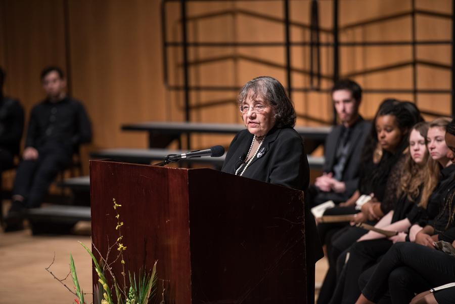 Civil rights activist Diane Nash addresses students about the importance of love and empathy. The former Freedom Rider and co-founder of the Student Nonviolent Coordinating Committee spoke to over 100 people at Pick-Staiger Concert Hall on Monday.