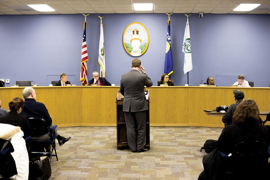 City Attorney Grant Farrar talks before City Council. Farrar presented changes to Evanston's nuisance ordinance Tuesday.