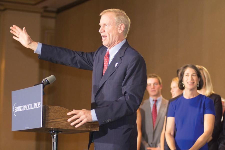 Gov.+Bruce+Rauner+speaks+to+a+crowd+of+supporters+the+night+he+was+elected+governor+of+Illinois.+Rauner+gave+his+second+State+of+the+State+address+Wednesday+morning.
