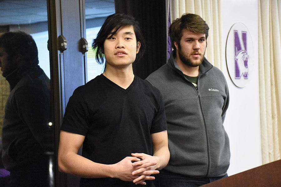 Weinberg seniors Kevin Luong and Erik Baker explain to Associated Student Government the importance of an Asian-American Studies major. Luong represents four Asian-identity based groups and Baker represents sexual health and assault related groups.