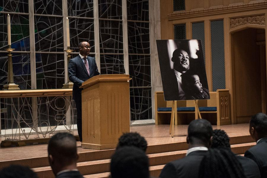 Kellogg Prof. Nicholas Pearce delivers the keynote speech during the Martin Luther King Jr. Day Candlelight Vigil. Pearce discussed the importance of working hard to promote justice and equality.