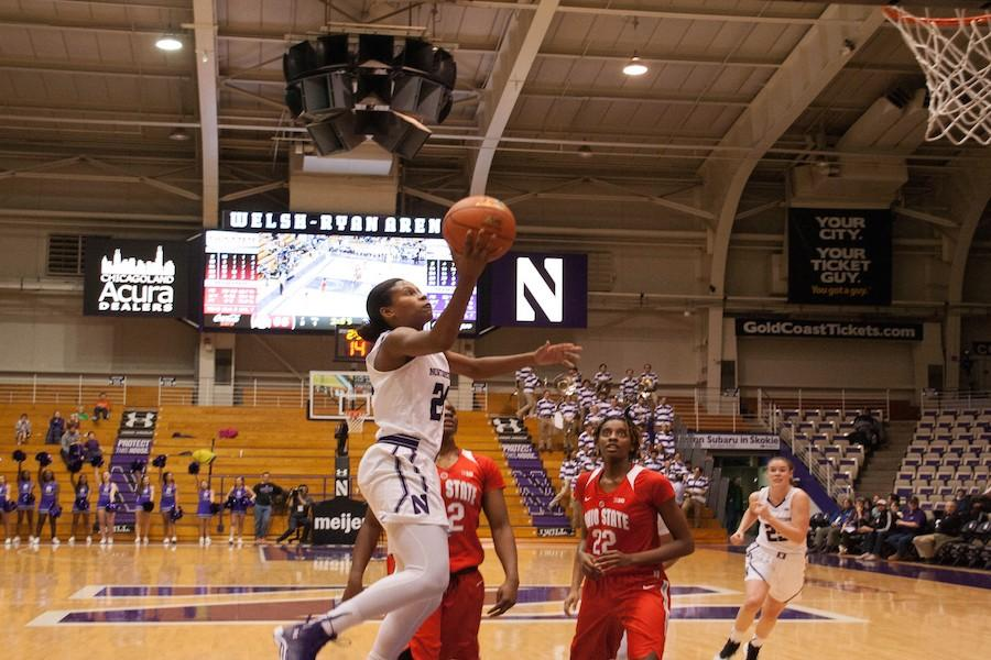 Christen Inman rises for a layup. The junior guard is averaging 15.2 points per game and will be looking to help Northwestern get back on track Wednesday against Minnesota.