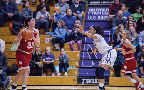 Nia Coffey defends an Indiana ballhandler. The junior forward scored 29 points in Sunday's loss to Indiana, Northwestern's third-straight defeat.