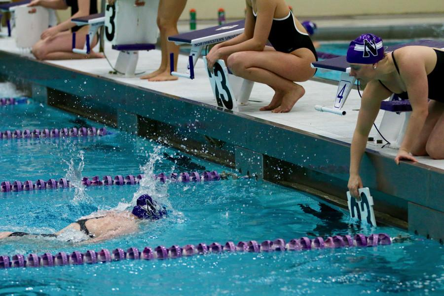 Ellen Anderson finishes a lap. The senior and the Wildcats were blown out over the weekend by Purdue and Minnesota.