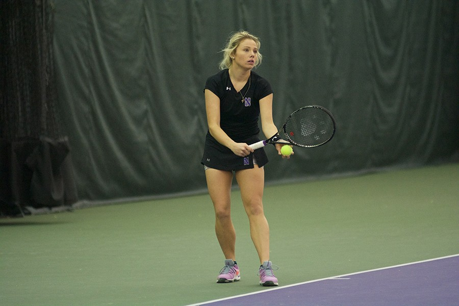 Alex+Chatt+prepares+to+serve.+Before+winter+break%2C+the+sophomore+led+the+Wildcats+in+singles+winning+percentage+at+.889.