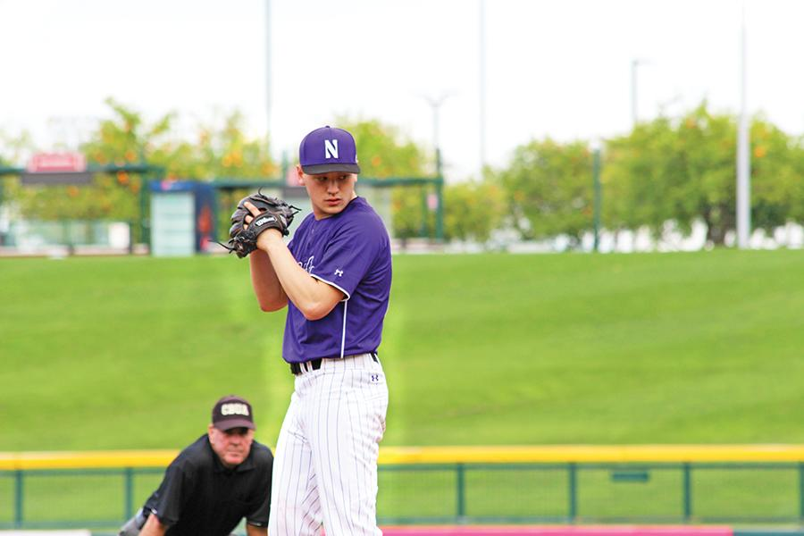 Joe Schindler sets up for a pitch. The junior pitcher threw five shutout innings to help Northwestern to an opening-day victory over Nevada at the Chicago Cubs' Spring Training stadium.