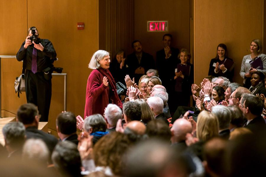 Roberta+Buffett+Elliott+%28Weinberg+%E2%80%9954%29+smiles+at+a+crowd+gathered+in+Pick-Staiger+Concert+Hall+to+honor+her+more+than+%24100+million+donation+to+the+University.+More+than+a+year+later%2C+Elliott%E2%80%99s+donation+has+allowed+the+Buffett+Institute+for+Global+Studies+to+fund+several+new+and+existing+programs+and+create+an+executive+director+position.+