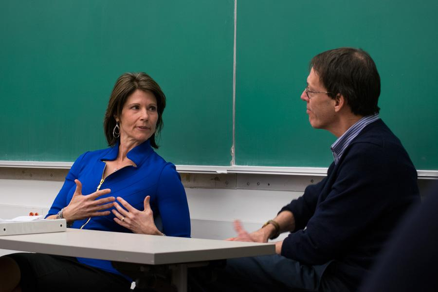 Cheri Bustos, U.S. representative for Illinois' 17th District, talks to students about her journalism background and her political career at a Monday event with Medill Prof. Peter Slevin's class. Bustos, who is running for reelection in 2016, discussed being a woman in politics and how her investigative reporting background informs her work in Congress.