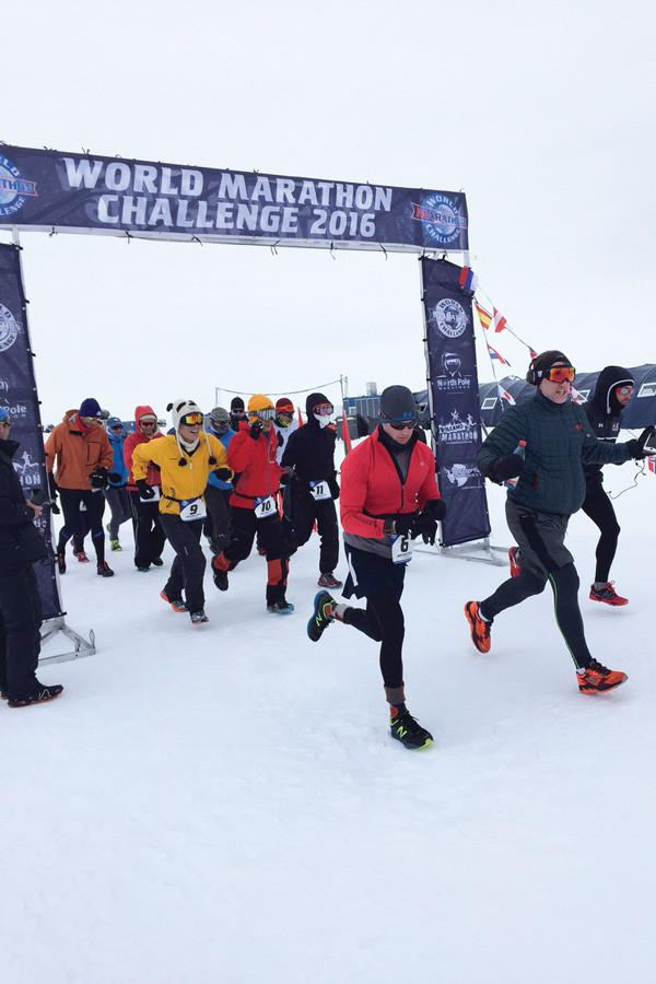 Daniel Cartica (6) begins his first of seven marathons on seven continents in a week. Cartica, a Naval ROTC instructor at the University, completed the World Marathon Challenge on Jan. 29, setting a new WMC record of 3:32:25 per marathon.