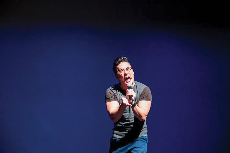 Comedian Eliot Chang performs at Celebrasia: Year of The Monkey. The Chinese Students Association and Taiwanese American Students Club issued a letter of apology Tuesday after receiving complaints that Chang's act was offensive.
