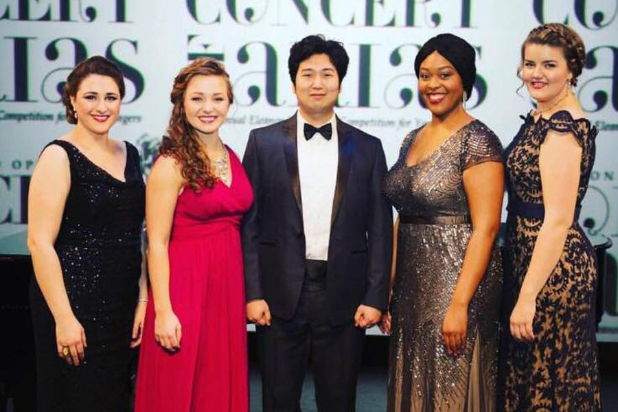 Bienen graduate student Madison Leonard (second from left) stands with other contestants at the Houston Grand Opera's 28th annual Eleanor McCollum Competition.  She won first place in the competition after advancing as one of eight finalists to the final round.