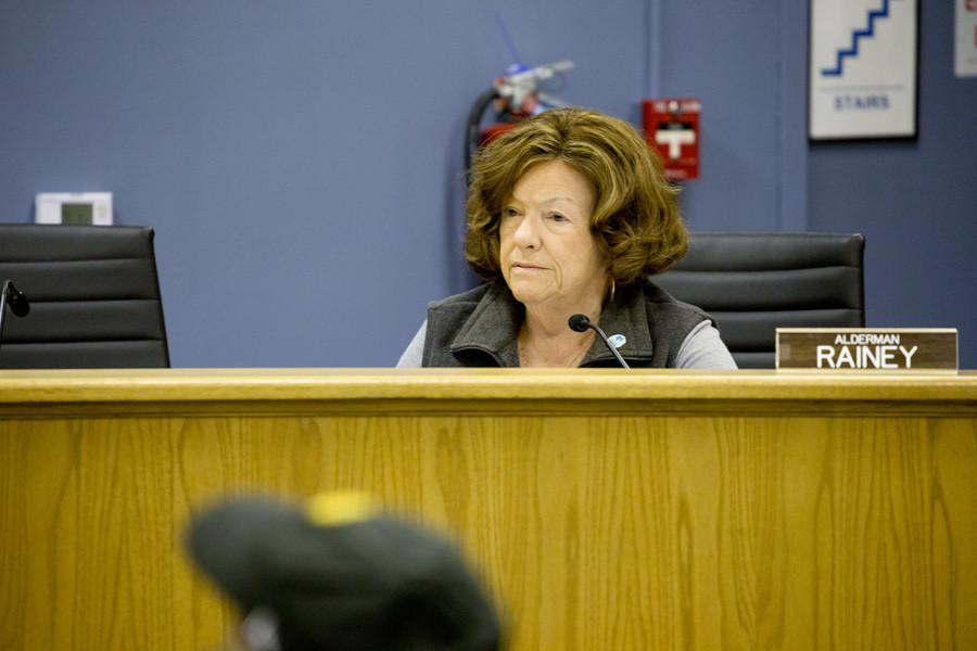 Ald. Ann Rainey (8th) attends a City Council meeting. Rainey and other aldermen raised concerns about moving forward with deliberations about a proposed building project at 831 Emerson St., and Council ultimately decided to hold off on discussion until the Feb. 22 Planning and Development Committee meeting.