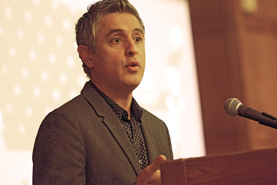Author Reza Aslan speaks in Lutkin Hall at an event hosted Thursday by the Muslim-cultural Students Association for Discover Islam Week. Aslan discussed Islamophobia and its current rise in the mainstream.