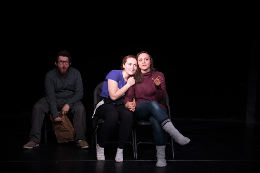 """Students rehearse for an upcoming production of """"Smudge"""" that will be presented in Wave Productions' Second Annual Director Festival. The festival was created last year to give amatuer student directors a chance to grow."""