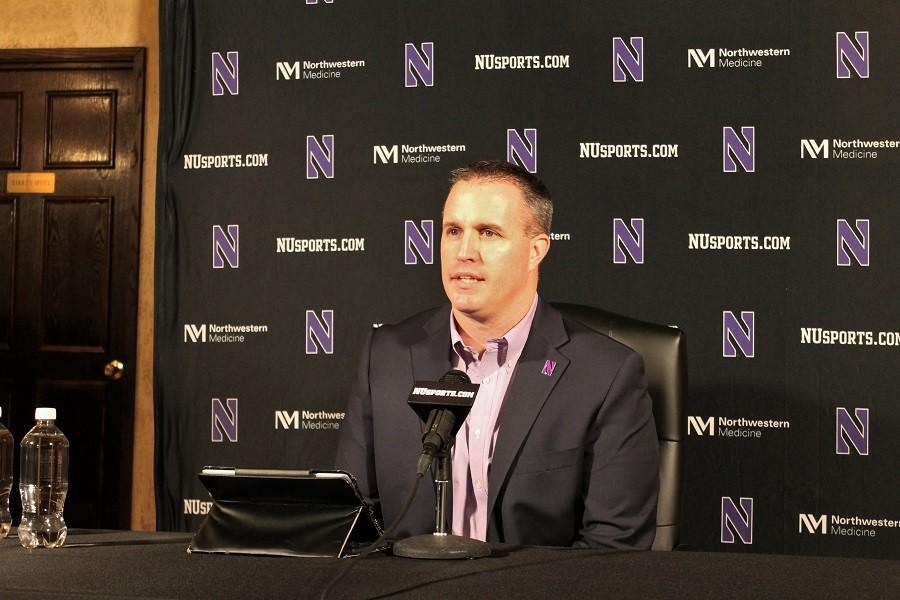 Coach+Pat+Fitzgerald+introduces+the+latest+football+recruiting+class+at+his+National+Signing+Day+news+conference+in+Chicago.+The+coach+was+excited+to+welcome+20+new+scholarship+athletes+to+the+program.