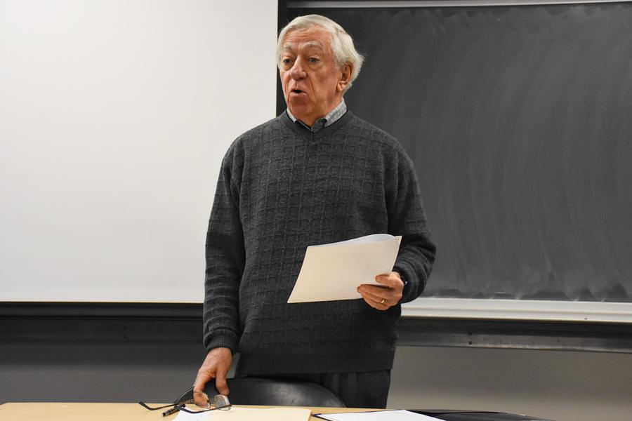 """Economics Prof. Robert Gordon addresses students in his """"Did Economics Win Two World Wars?"""" class. Gordon's book arguing America's years of prolific innovation have passed, """"The Rise and Fall of American Growth,"""" was published in January."""