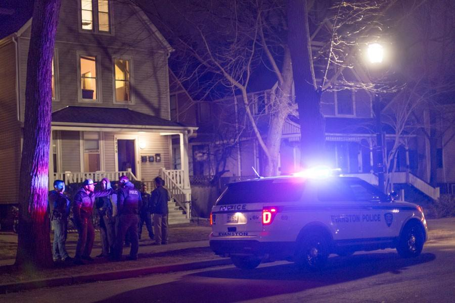 Police respond to a reported burglary in the 2000 block of Maple Avenue. Three suspects were taken into police custody, Evanston police Cmdr. Melissa Sacluti said.