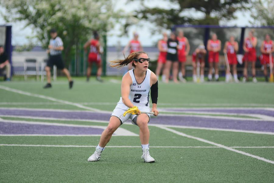 Selena+Lasota+cradles+the+ball.+The+sophomore%2C+Northwestern%E2%80%99s+leading+scorer+from+last+year%2C+led+the+Cats+on+Sunday+with+five+goals.