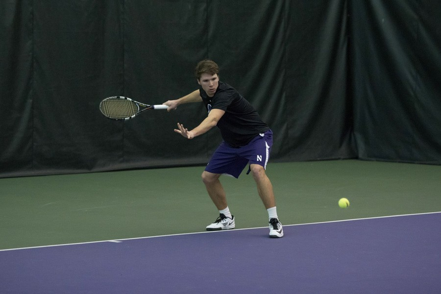 Alp Horoz readies a backhand. Northwestern's Thursday match against TCU was canceled due to inclement weather.