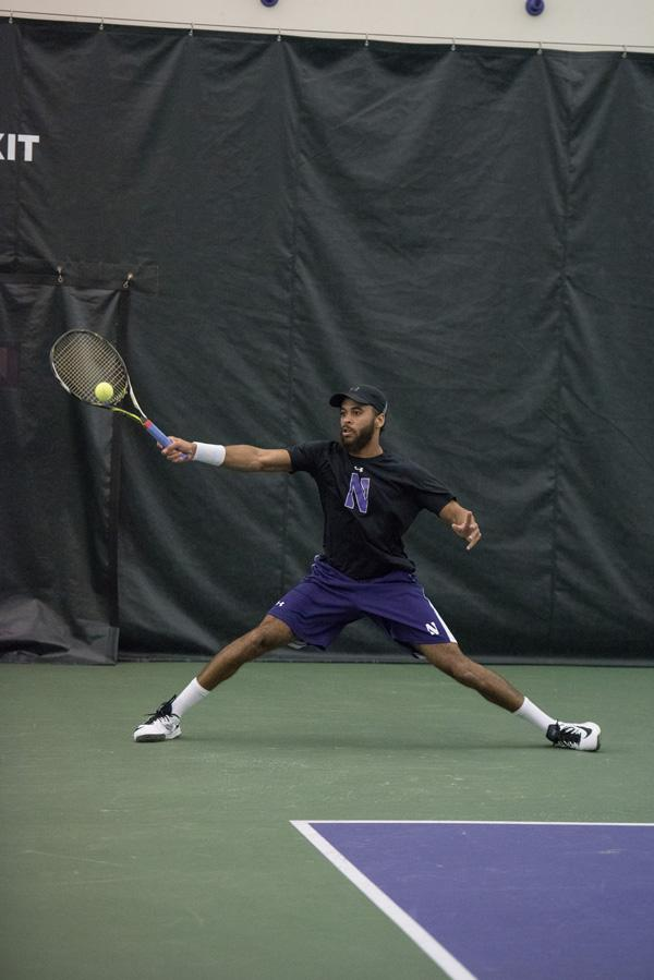 Sam Shropshire takes a forehand. The junior has helped Northwestern get off to its best start since the 1988-89 season.