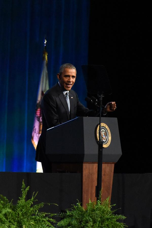 President Obama speaks to the International Association of Chiefs of Police in Chicago in October. On Wednesday, Obama addressed the Illinois General Assembly in Springfield, where he declared his presidential candidacy nine years ago.