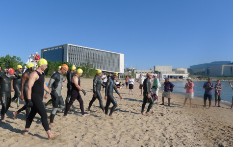 Swimmers prepare for the inaugural Great Lake Plunge last year at Clark Street Beach, 1811 Sheridan Rd. This year's open water swim will instead take place half a mile south at Greenwood Street Beach, 1401 Sheridan Rd.