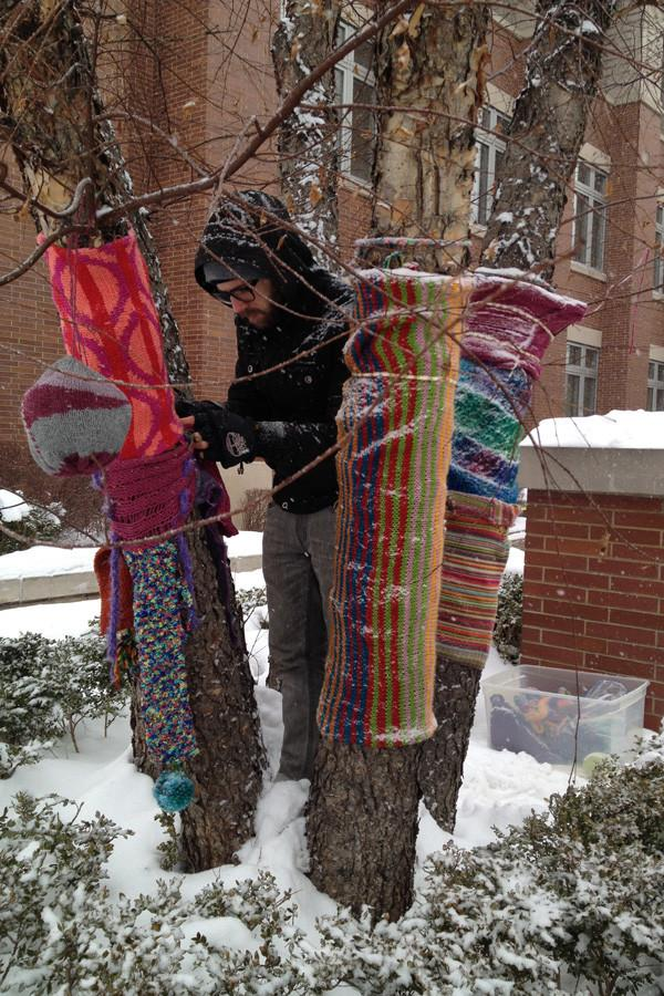 """Artwork by Evanston community members is displayed in Downtown Evanston to cheer people up in the winter. Artwork will be displayed in the next few months as part of """"Winter HeARTh 2016: TryAngles."""""""